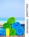 close up of colorful towels and ... | Shutterstock . vector #280277402