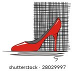 Red stiletto shoe on a cross-hatched background. - stock vector
