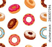 seamless donut background with... | Shutterstock .eps vector #280307396