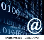 bits and bytes on a dark blue... | Shutterstock . vector #28030990
