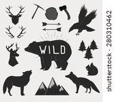hand drawn wild animals and... | Shutterstock .eps vector #280310462