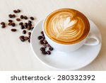 coffee cup with latte art and... | Shutterstock . vector #280332392