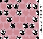 black cat emoticons on pink... | Shutterstock .eps vector #280338722