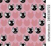 black cat emoticons on pink... | Shutterstock .eps vector #280338722