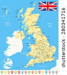 united kingdom map  flag ... | Shutterstock .eps vector #280341716