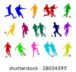 colorful soccer silhouettes | Shutterstock . vector #28034395