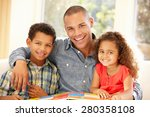 father reading to children   Shutterstock . vector #280358108