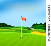 Golf Hole Vector Green Tee...