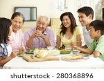 asian family sharing meal at... | Shutterstock . vector #280368896