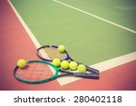 tennis racket and balls on the... | Shutterstock . vector #280402118