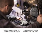 employee drilling in flat steel ... | Shutterstock . vector #280404992