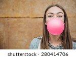 closeup of beautiful young... | Shutterstock . vector #280414706