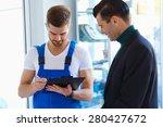 mechanic listening  his... | Shutterstock . vector #280427672