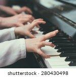 woman teaching little girl to... | Shutterstock . vector #280430498