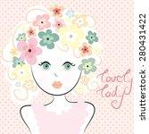 lovely flower hair pretty lady... | Shutterstock .eps vector #280431422
