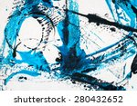Abstract Hand Painted Black An...