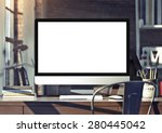 computer on table. 3d rendering | Shutterstock . vector #280445042
