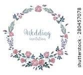 vector watercolor wreath with... | Shutterstock .eps vector #280457078