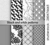 set of 8 black and white... | Shutterstock .eps vector #280476665