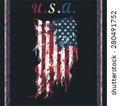 u.s.a ripped flag fashion tee... | Shutterstock .eps vector #280491752