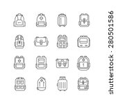 Backpack Outline Icons Set....