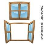 cartoon wooden windows   closed ... | Shutterstock .eps vector #28050982