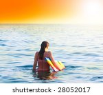 beautiful woman  a on a vacant... | Shutterstock . vector #28052017