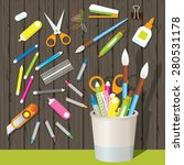 can holder with office supplies ... | Shutterstock .eps vector #280531178