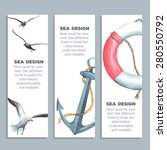 cards with watercolor nautical... | Shutterstock .eps vector #280550792