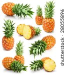 fresh pineapple fruits with cut ... | Shutterstock . vector #28055896
