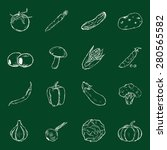 vector set of chalk vegetables... | Shutterstock .eps vector #280565582