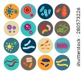 set of icons with bacteria and...   Shutterstock .eps vector #280573226