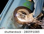 gas cutter steel water pipe | Shutterstock . vector #280591085