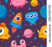 seamless pattern funny monsters ... | Shutterstock .eps vector #280598705