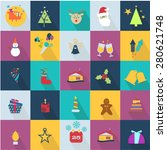 christmas icons set with... | Shutterstock .eps vector #280621748