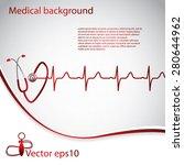 abstract medical cardiology ekg ... | Shutterstock .eps vector #280644962