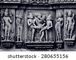 stone carved erotic bas relief... | Shutterstock . vector #280655156