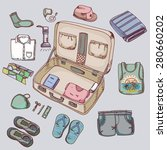 suitcase with things clothing... | Shutterstock .eps vector #280660202