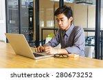 handsome businessman working... | Shutterstock . vector #280673252