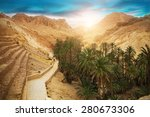 view of mountain oasis chebika  ... | Shutterstock . vector #280673306