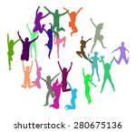 victory is ours people jumping  | Shutterstock .eps vector #280675136