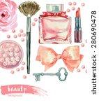 watercolor cosmetics pattern.... | Shutterstock .eps vector #280690478