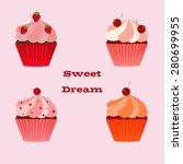 set of sweet cupcakes. | Shutterstock .eps vector #280699955
