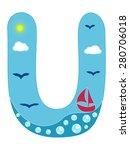 Letter U Sea Summer Wavy...