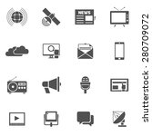 media black icons set with... | Shutterstock .eps vector #280709072