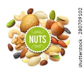 nut collection with raw food... | Shutterstock .eps vector #280709102