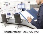engineer recording maintenance... | Shutterstock . vector #280727492