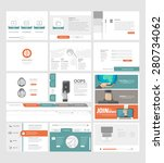set of flat website template...