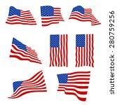 american flag isolated on white ... | Shutterstock .eps vector #280759256