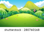 green field with hills and... | Shutterstock .eps vector #280760168